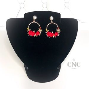 Red Flowers & Pearls Pierced Gold Hoop Earrings 🌹